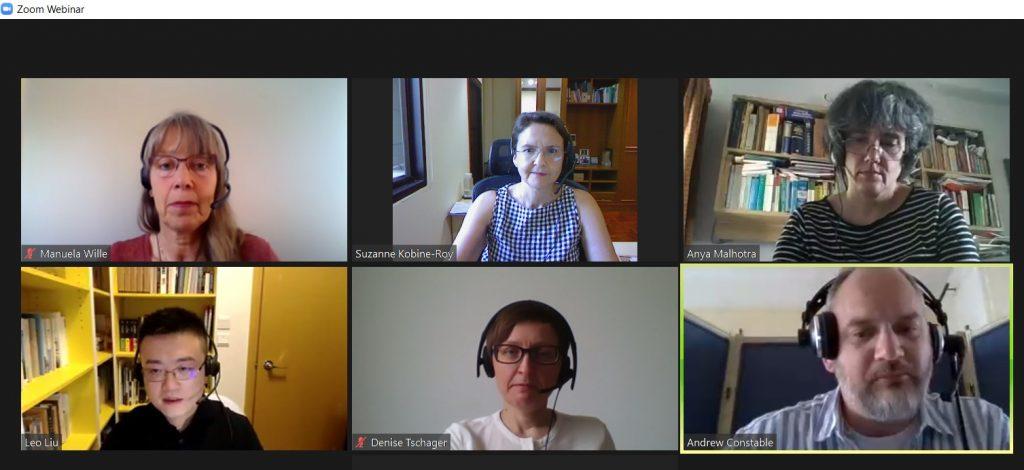 AIIC Members in a split screen of the webinar video conference